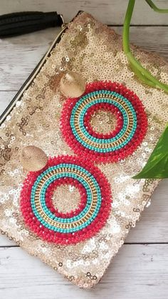 Seed Bead Earrings, Round Earrings, Beaded Earrings, Statement Earrings, Earrings Handmade, Seed Beads, Diy Jewelry, Beaded Jewelry, Jewelry Making