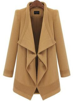 Camel Lapel Long Sleeve Belt Woolen Coat