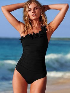 Black One-Shoulder Monokini Backless Polyester Swimsuit One Piece Swimsuit  Slimming 59643a7aa