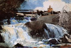 """Winslow Homer (American artist, - """"Casting in the Falls"""", 1889 Modern Art Artists, Winslow Homer Paintings, Classical Realism, American Impressionism, Fish Art, American Artists, Canvas Art Prints, Watercolor Paintings, Watercolours"""