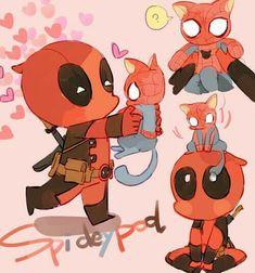 Deadpool x Spiderman imagenes Marvel Jokes, Marvel Funny, Marvel Heroes, Marvel Dc, Spideypool, Superfamily Avengers, Cute Deadpool, Deadpool X Spiderman, Batman
