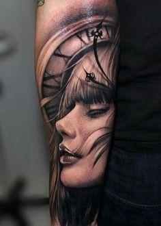 full sleeve work woman/watch tattoo for guys