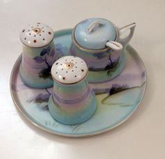 Nippon Era Meito 6 Pierce Condiment Set Blue Scene Tray Salt Pepper Mustard