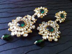 Kundan Jhumkas Green Chandelier Earrings  Kundan by taneesijewelry, $69.99