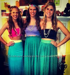 Easy Mermaid's Cove Girls Group Costume... This website is the Pinterest of costumes