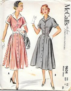 McCalls 9634 - 1950s Shirtwaist Dress Vintage Sewing Pattern, offered on Etsy by GrandmaMadeWithLove
