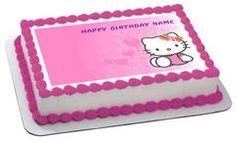 Hello Kitty Character 3 Edible Birthday Cake Topper OR Cupcake Topper, Decor - Edible Prints On Cake (Edible Cake &Cupcake Topper)