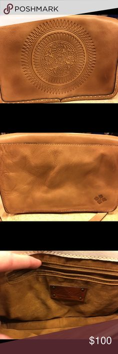 """🌝Patricia Nash Leather Purse💥 This gorgeous fall purse has three inside compartments. Two pockets on one compartment and a zipper pocket on another. The adjustable strap will stretch out 23"""" for over the shoulder. A couple of very small marks as seen in the last pic but otherwise in excellent condition. The bottom of bag is accordion like as seen is last pic. It is 8"""" tall, 11.5"""" wide and 3.5"""" deep on bottom. Patricia Nash Bags Shoulder Bags"""