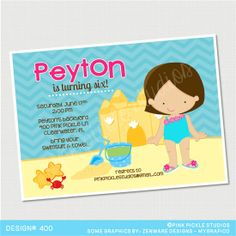 Beach Party Birthday Invitation or Thank You by PinkPickleParties, $10.00