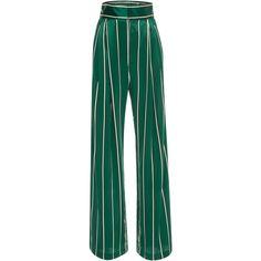 Wrap It Up Shirt | Moda Operandi ($565) ❤ liked on Polyvore featuring pants, high waisted wide leg pants, high-waisted trousers, blue silk pants, high-waist trousers and blue wide leg pants