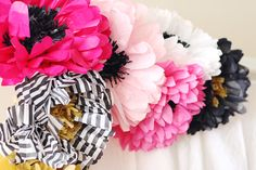 Oh Hello, Love: A Parks & Recreation Inspired Galentine's Day Brunch - Tissue paper flower photo booth backdrop  Pink, Gold, Emerald Green. Black and White Stripes.