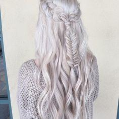 Image via We Heart It #beauty #braid #braids #colorhair #fashion #greyhair #hair #hairdo #hairstyle #hipster #longhair #outfit #style #wavyhair #hairinspiration #fishtailbraid #weddinghair #pastelhair #finehair