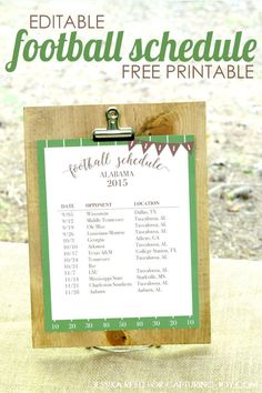 Get ready for football season with this editable schedule free printable download on Capturing-Joy.com