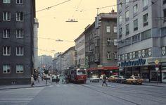 Wien WVB SL O Taborstrasse / Klanggasse / Heinestrasse im Juli Old Steam Train, Austria, Vintage Photos, Street View, Vienna, Snow, Memories, Architecture, Vintage Photography