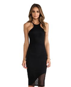 Women Fashion Sexy Slim Round Neck Sleeveless Strap Sheer Mesh Stitching  Stretch Solid Pencil Dress. Black Party ... 6279497f3