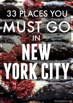 Favorite Places to Eat and Drink in New York City Visiting New York City? Check out these 33 amazing places to eat, drink, and get your groove on.Visiting New York City? Check out these 33 amazing places to eat, drink, and get your groove on. Visit New York City, New York City Travel, New York Essen, Usa Roadtrip, Usa Travel, Food Travel, Travel Trip, Canada Travel, Voyage New York