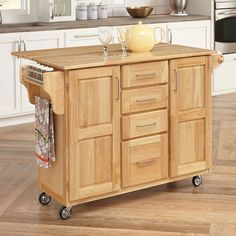 Natural Kitchen Cart With Butcher Block Top Natural Finish Mesmerizing Kitchen Island On Casters Inspiration