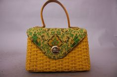 Jaipur Carnary Yellow 70s Indian Print Small Woven Basket Box Purse