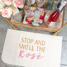 Stop and Smell the Rosé Indoor mat by Be There in Five! -- rose wine, rosé wine, wine lovers, funny gift, rose gold, funny print, funny doormat, kitchen mat, home decor, rose all day, yes way rose, pink