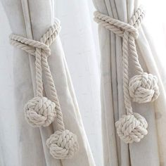 Curtain Tie Backs Diy, Curtain Ties, Diy Curtains, Rope Curtain Tie Back, Rope Tie Backs, Curtain Accessories, Decorative Accessories, Room Accessories, Do It Yourself Inspiration