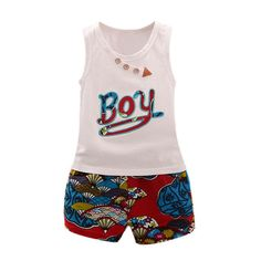 >> Click to Buy << Baby O-neck Boys Sleeveless Pullover Vest Tops Letter Print Fashion Pants Summer Casual Children Sets #Affiliate