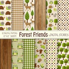"Woodland Digital Paper Pack: ""FOREST FRIENDS"" with forest animals, trees, wood, plaid for scrapbooking, invites, cards - Buy 2 Get 1 Free"