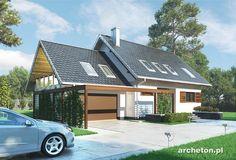 Projekt domu Ignacy - funkcjonalny dom, z dodatkowym pokojem na parterze i garażem dwustanowiskowym ceramika - Archeton.pl
