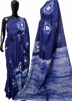 Handprinted mulmul cotton sarees with blouse piece .