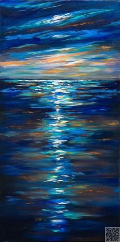24. Dusk on the #Ocean - 31 Paintings You Can Copy for Your Own #House ... → DIY…