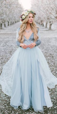 blue prom dresses Elegant Deep V-Neck Long Sleeve A-Line Tulle Long Sleeve Prom Dresses, This dress could be custom made, there are no extra cost to do custom size and color. Prom Dresses Long With Sleeves, Wedding Dresses Plus Size, Colored Wedding Dresses, Dream Wedding Dresses, Plus Size Elopement Dress, Different Color Wedding Dresses, Wedding Dresses With Color, Colored Wedding Gowns, V Neck Wedding Dress