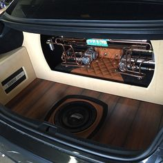 lexus ls460 subwoofer in the wood grain floor accuair air ride trunk install copper pipe tube compressors