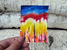 Original Painting Watercolor Landscape Trees