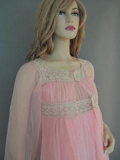 Vintage 60's Chiffon Babydoll Nightgown Robe Set Darling Peachy Pink Nylon S XS