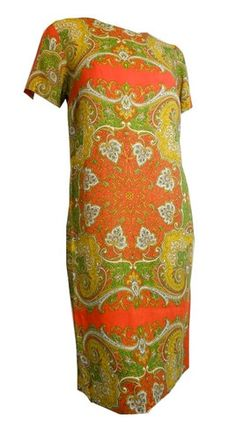 Gorgeous Exotic Print Orange Spice Shift Dress circa 1960s - Dorothea's Closet Vintage