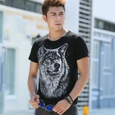 Casual 3D Cotton Print Wolf Short Sleeve Summer T-Shirts //Price: $12.60 & FREE Shipping //     #deal