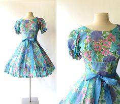 LORETTA Floral Dress / Square Dance Dress / by SmallEarthVintage, $54.00