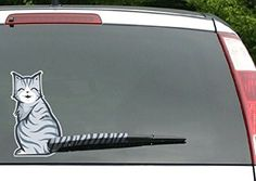 Moving Tail Kitty Car Decal - Rear Window and Wiper Decal - Two (2) Cat Stickers (Smiling and Frowning) and 4 Tails Included - Vinyl 10in x 6in Cats -