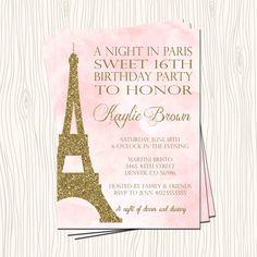 Sweet 16 Sixteen Night in Paris Eiffel by ATimeAndPlaceDesign
