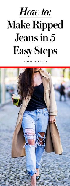 46 Trendy How To Diy Ripped Jeans Outfit Diy Jeans, Zerfetzte Jeans, Diy Ripped Jeans Tutorial, Diy Clothes Jeans, Diy Clothes Videos, Shoes With Jeans, Diy Tattered Jeans, Diy Distressed Jeans Tutorial, Diy Clothing