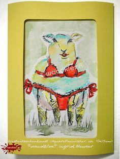 Erotik - Einzelstück handgemalt Buntes Schaf Sexy Lola Mini -  Ein Designerstück von wandklex Ingrid Heuser im kleinen Klexshop auf DaWanda unter http://de.dawanda.com/shop/wandklex  Westentaschenkunst - persönl.Kunststückchen, handgemalt (auch nach Foto) Lesezeichen oder Grußkarte  mal anders;  einzeln handgemalte Miniaturen mit Ihrem individuellen Motiv .  Jede Arbeit  ein Unikat, alle Tierrassen+ natürlich auch Menschen möglich