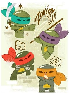 An art show featuring different takes on the Teenage Mutant Ninja Turtles. I love this one--it's so cute! Nightwing, Batwoman, Manga Comics, Dc Comics, Ninja Turtles Art, Teenage Mutant Ninja Turtles, Baby Turtles, Sweet Turtles, Geeks