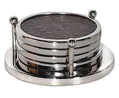 4 Dessous de verre ALYSSA, métal - argenté et noir
