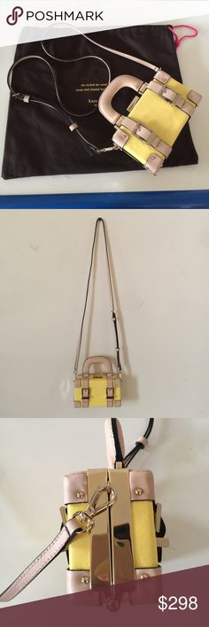 Kate spade mini crossbody bag,yellow color Very mini bag.can put iPhone inside some card and key ,not too much stuff.great condition.just wear once kate spade Bags Crossbody Bags