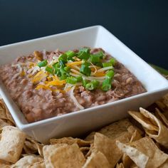 Crockpot Refried Beans        3 cups of dry pinto beans (rinsed)      1 onion, diced      9 cups of water      5 tsp salt      1 3/4 tsp pepper      2 Tbsp minced garlic      1/8 tsp ground cumin        Put all the ingredients in a crockpot and cook on high for about 8 hours.