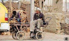 Poor Afghan man waiting for work