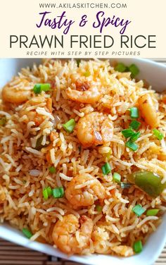 Spicy Prawn Fried Rice or the shrimp fried Recipe in Indian Style is a quick and tasty recipe which can be easily made in 20 minutes of time and tastes spicy and delicious. Calamari Recipes, Prawn Recipes, Shellfish Recipes, Spicy Recipes, Indian Food Recipes, Asian Recipes, Chef Recipes, Drink Recipes, Fall Recipes
