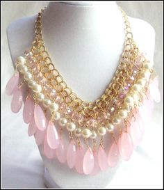 SALE Pink statement necklace, bib necklace, pink and gold collar necklace, teardrop bead necklace, exotic bohemian necklace, fashion jewelry