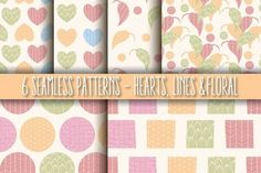 6 Seamless Patterns, Hearts & Lines by Blue Lela Illustrations on Creative Market