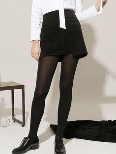 e9f69bcab5b 16 Fw Unbalanced Corduroy Mini Skirt Black