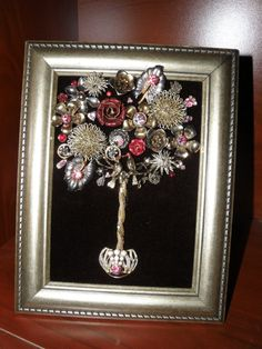 "One-of-a-Kind Framed Vintage Jewelry Art Topiary Tree Handcrafted ""Pewter-tones Black Pink Red Lovebirds Roses Flowers"""